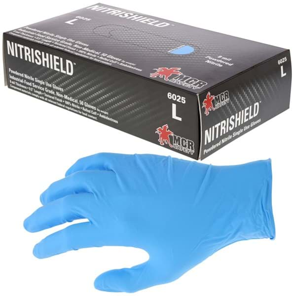 "Picture of Disposable Chemical Glove Nitrile 8mil. Powdered ""NitriShield""– XL"