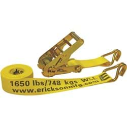 "Picture of Erickson Heavy-Duty Ratchet Strap with J Hooks - 2""x15'"