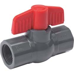 "Picture of PVC Schedule 80 Grey Ball Valve F.I.P. - 1/2"" FIP X 1/2"" FIP"