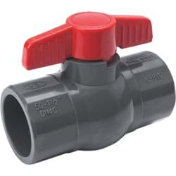 "Picture of PVC Schedule 80 Grey Ball Valve Solvent Weld - 1-1/2"" S X 1-1/2"" S"