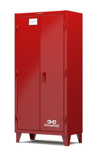 "Picture of Strong Hold Plus Industrial Cabinet, Single-Shift, Solid Doors, Red,(RAL 3001) - 36""x20""x78"""