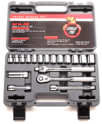 "Picture of Socket Set w/ Ratchet Drive 3/8"" 6 Point Metric Wright – 18pc."