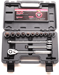 "Picture of Socket Set w/ Ratchet Drive 1/2"" 12 Point Metric Wright - 14pc."