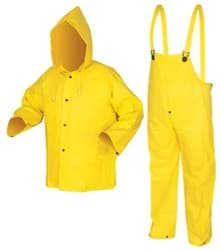 Picture of Rain Suit (Pants, Coat, Hood) 3Pc Yellow Flame Resistant - L
