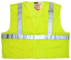 Picture of Vest Safety Mesh Green w/ Stripes Silver Class 2 Flame Resistant - XL