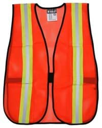 Picture of Vest Safety Mesh Orange w/ Stripes Silver/Lime