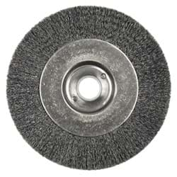 "Picture of 4"" Narrow Face Crimped Wire Wheel, .006"" Steel Fill, 5/8""-1/2"" Arbor Hole"