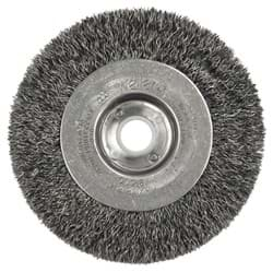 "Picture of 4"" Narrow Face Crimped Wire Wheel, .0118"" Steel Fill, 5/8""-1/2"" Arbor Hole"