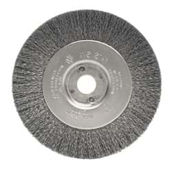 "Picture of 4"" Narrow Face Crimped Wire Wheel, .006"" Stainless Steel Fill, 1/2""-3/8"" Arbor Hole"