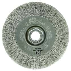 "Picture of 4"" Narrow Face Crimped Wire Wheel, .006 Stainless Steel Fill, 5/8""-11 UNC Nut"