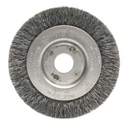 "Picture of 3"" Narrow Face Crimped Wire Wheel, .006"" Stainless Steel Fill, 1/2""-3/8"" Arbor Hole"
