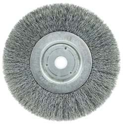 "Picture of 6"" Narrow Face Crimped Wire Wheel, .008"" Steel Fill, 5/8""-1/2"" Arbor Hole"