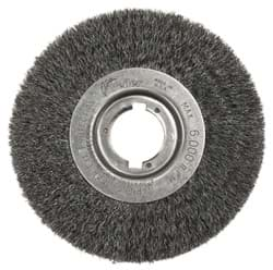 "Picture of 6"" Narrow Face Crimped Wire Wheel, .008"" Steel Fill, 1-1/4"" Arbor Hole"