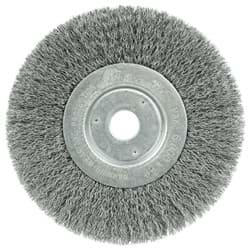 "Picture of 6"" Narrow Face Crimped Wire Wheel, .0118"" Steel Fill, 3/4"" Arbor Hole"