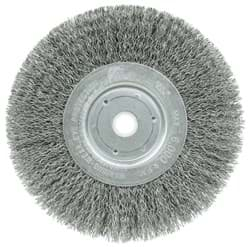 "Picture of 6"" Narrow Face Crimped Wire Wheel, .014"" Steel Fill, 5/8""-1/2"" Arbor Hole"
