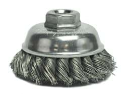 "Picture of 3-1/2"" Single Row Knot Wire Cup Brush, .023"" Steel Fill, 5/8""-11 UNC Nut"