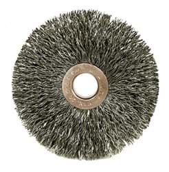 "Picture of 3"" Small Diameter Crimped Wire Wheel, .014"" Steel Fill, 1/2""-3/8"" Arbor Hole"