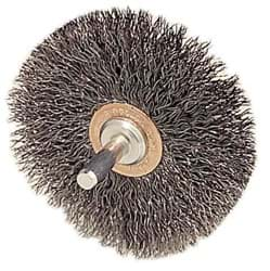 "Picture of 2-1/2"" Narrow Face Stem-Mounted Crimped Wire Wheel, .014"" Steel Fill, 1/4"" Stem"