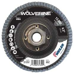 "Picture of 4-1/2"" Wolverine Abrasive Flap Disc, Conical (TY29), Phenolic Backing, 80Z, 5/8""-11 UNC Nut"