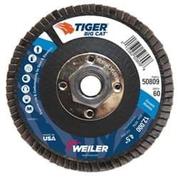"Picture of 4-1/2"" Big Cat Abrasive Flap Disc, Flat (TY27), Phenolic Backing, 60Z, 5/8""-11 UNC Nut"