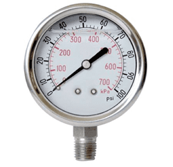 "Picture of Gauge Liquid Filled 4"" Steel Stainless - 15Kpsi"