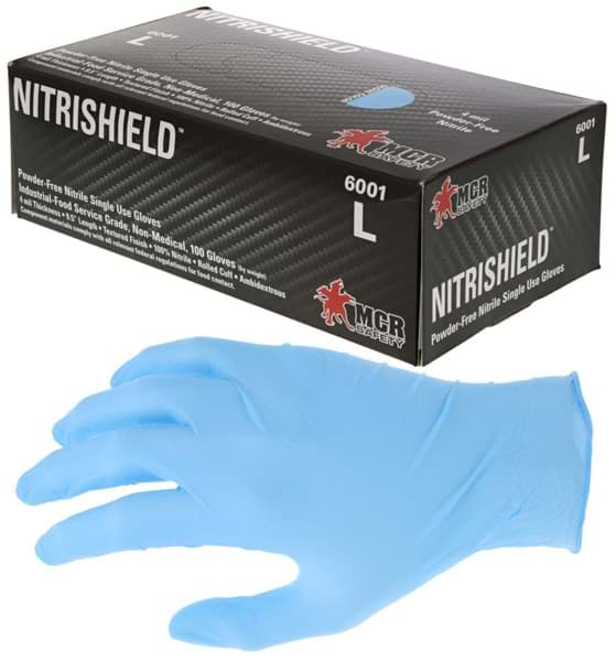 "Picture of Disposable Chemical Glove Nitrile 4mil. Non-Powdered ""DuraShield"" - L"